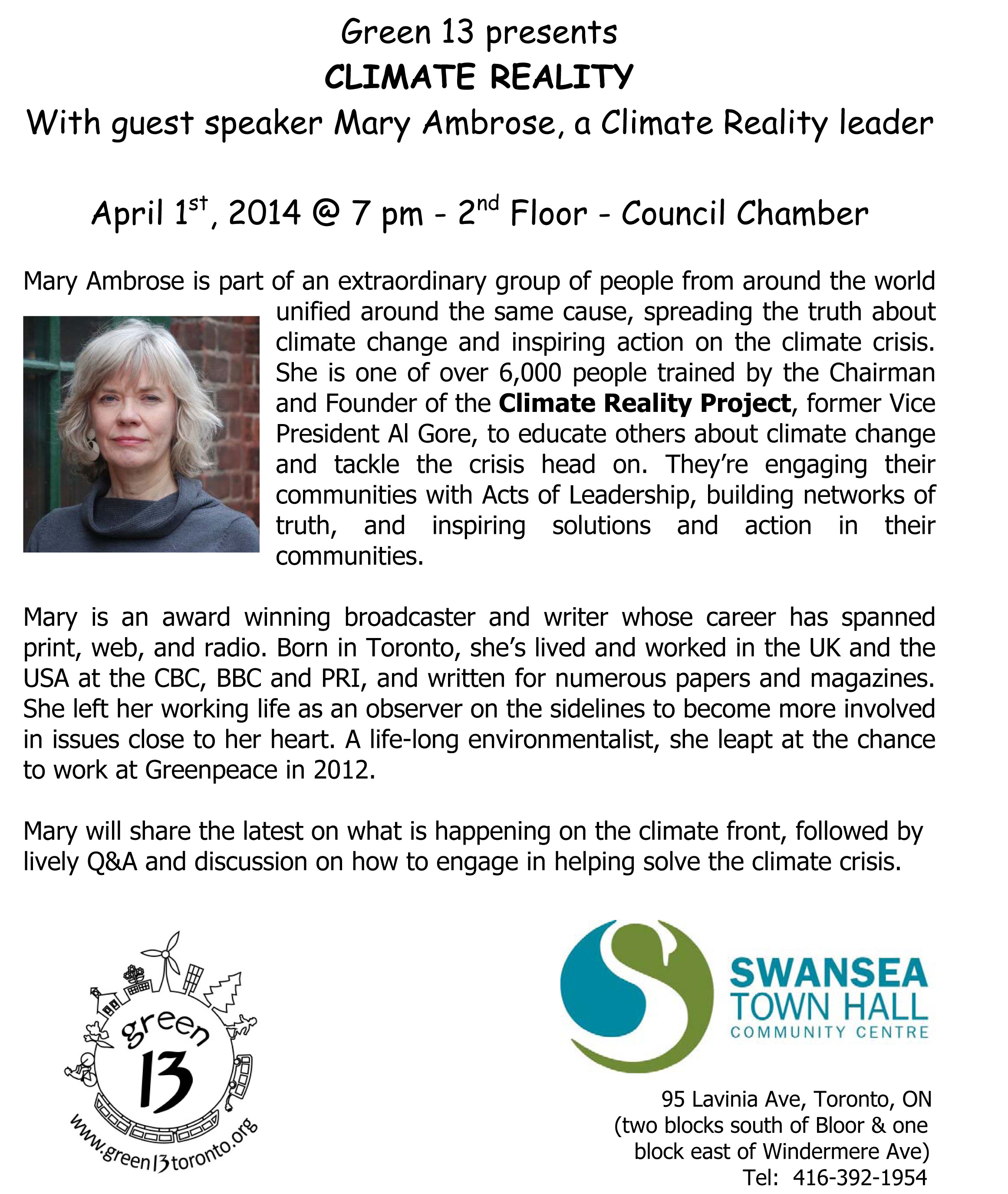 Green 13 & Swansea Town Hall presents