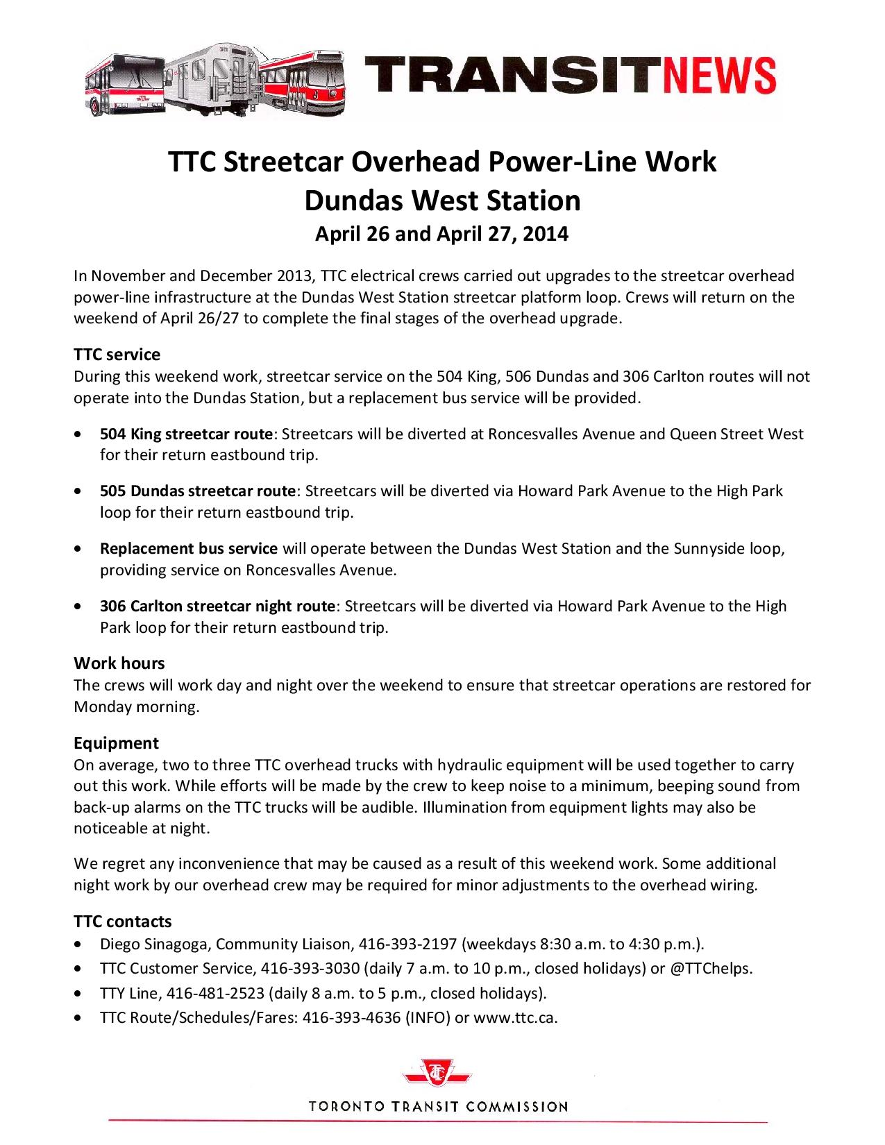 Overhead PowerLine work - Dundas West Stn - 2014 weeekend-page-001