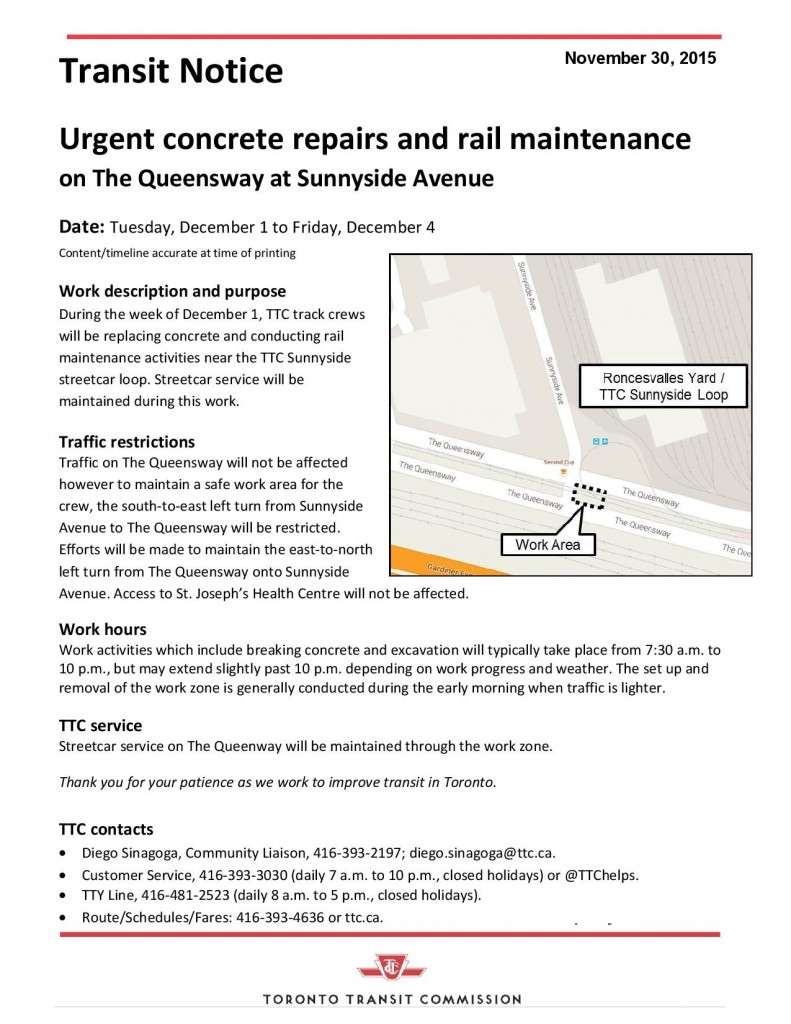 TTC Notice - Urgent repairs at Queenway and Sunnyside-page-001