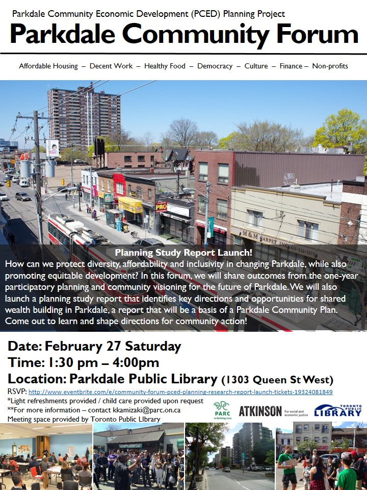 Flyer - Parkdale Forum on Feb 27