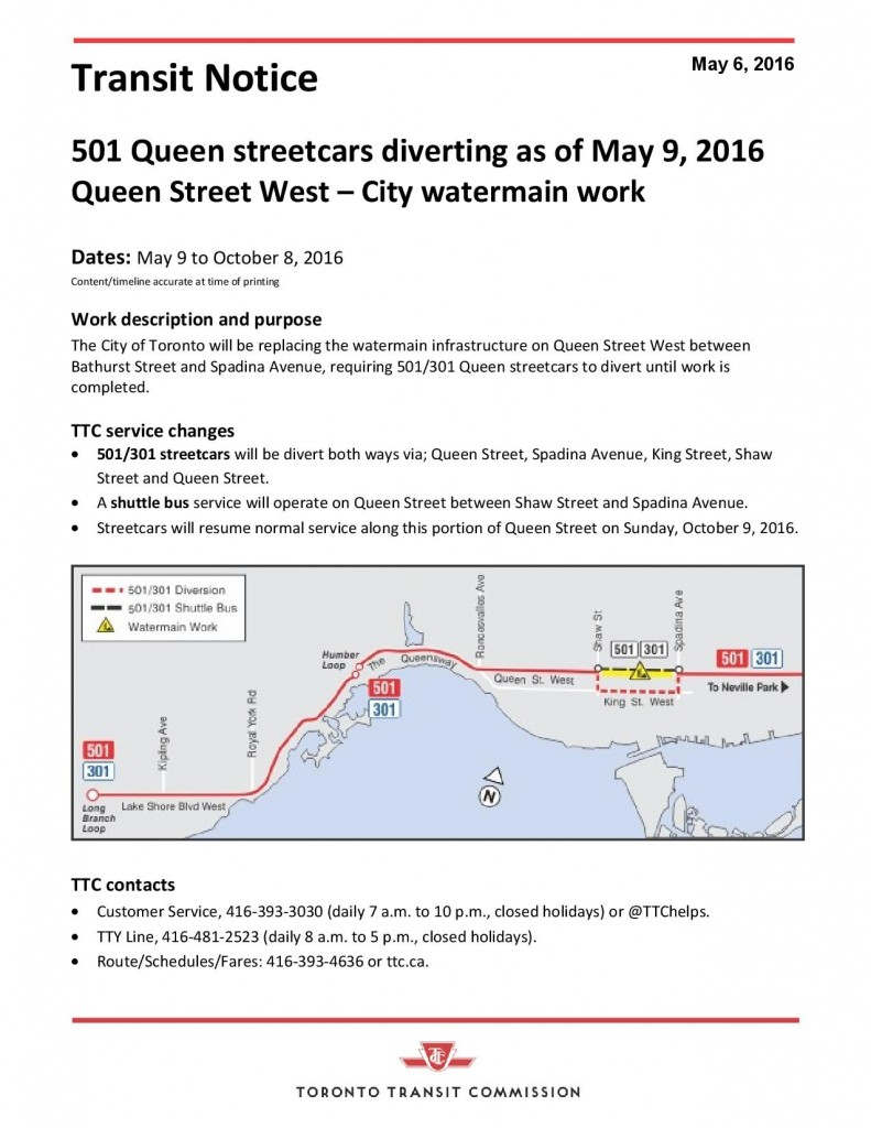 TTC Notice - 501 Queen diversion during City watermain work-page-001