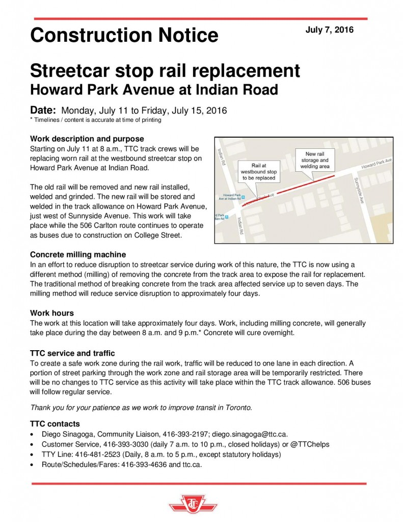 TTC Notice - Rail Replacement - Howard Park at Indian Road-page-001