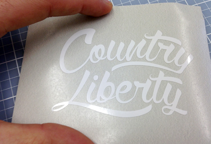 """A 2"""" x 3"""" decal we cut for Country Liberty."""