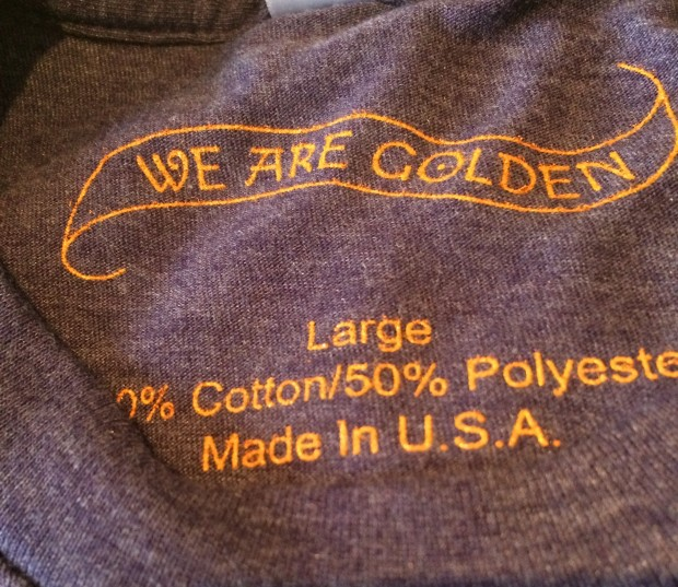 Printed Tag on a We Are Golden T-shirt