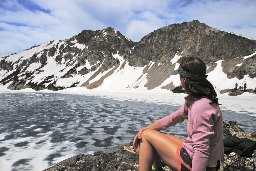 alpine lake woman