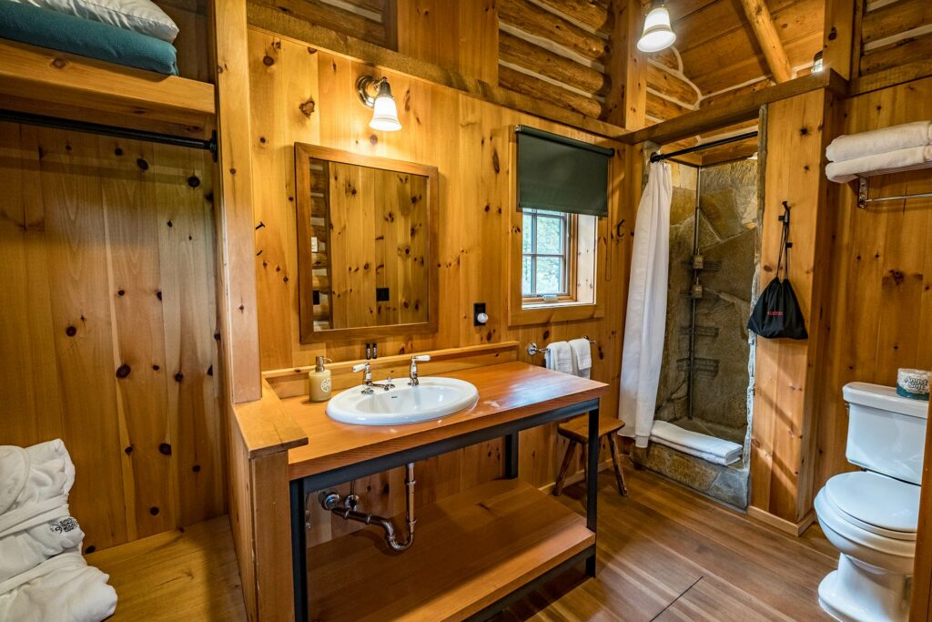 A luxury private master bathroom in our log cabins at the Idaho Rocky Mountain Ranch