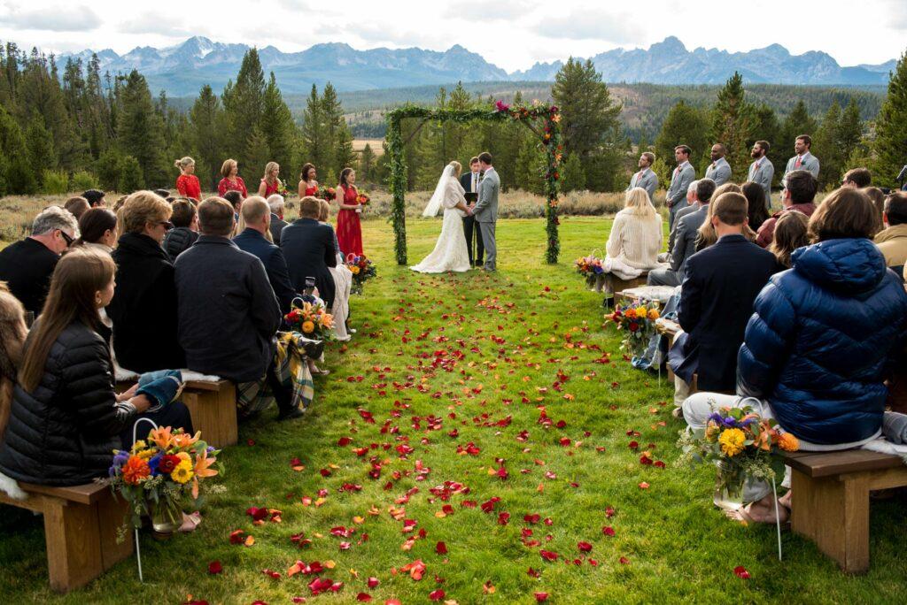a romantic idaho wedding venue in the sawtooth mountains at Idaho Rocky Mountain Ranch