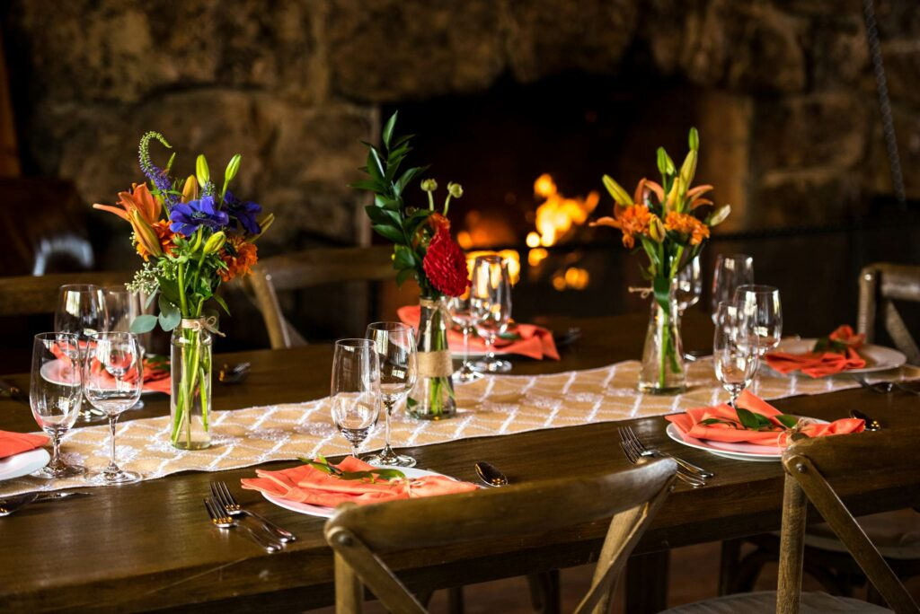 A fancy dinner setting ready for guests to enjoy our gourmet meals