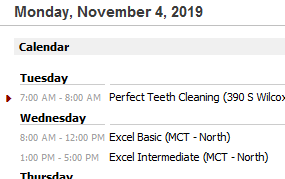 Calendar setup in Outlook Today