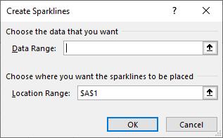 Missing a Mouse? Use ALT - Excel - Sparkline dialog box