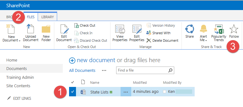 Follow a document in the SharePoint ribbon