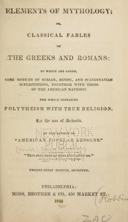 Elements of mythology, or, Classical fables of the Greeks and Romans _ to which