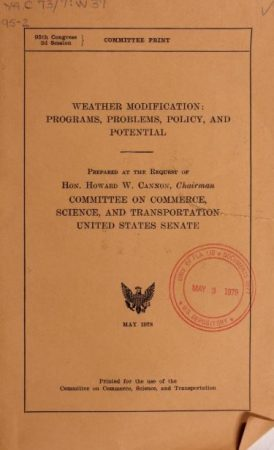 textsWeather modification: programs, problems, policy, and potential
