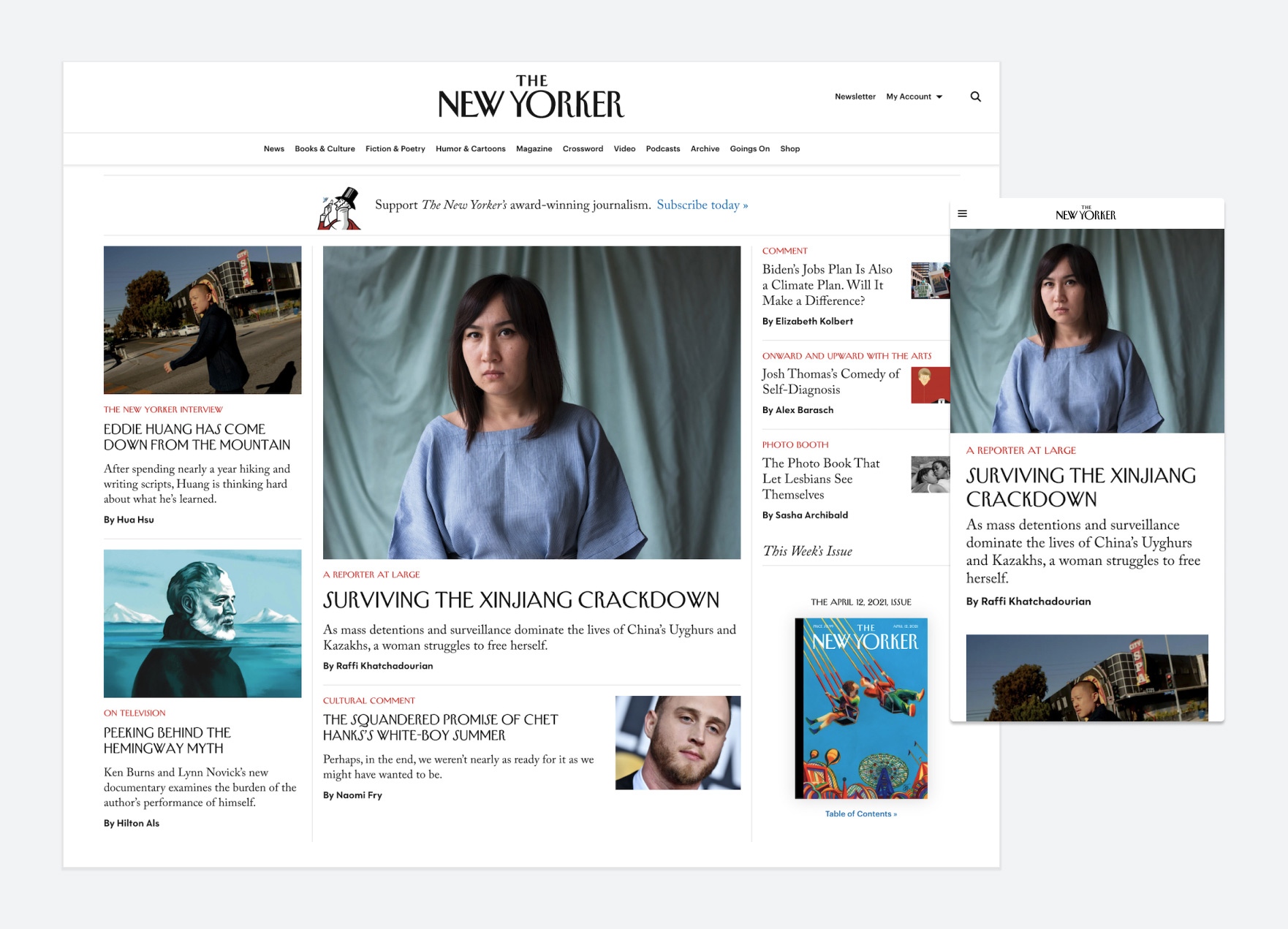 the new yorker homepage redesign
