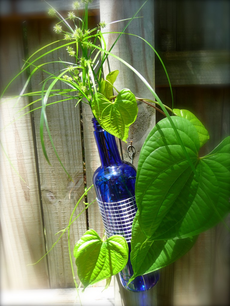 Cobalt Blue Glass and Metal Wine Bottle Vase