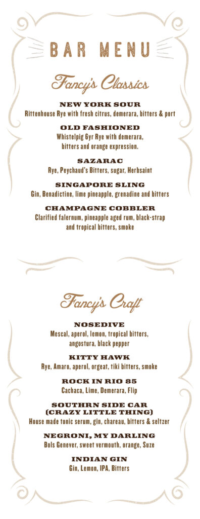 Fancy's Menu