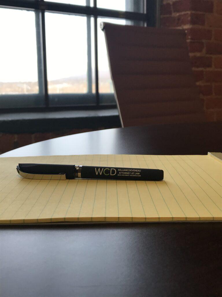 William C. Deveneau, Esq. PLC - Vermont Pad on Small Conference Table
