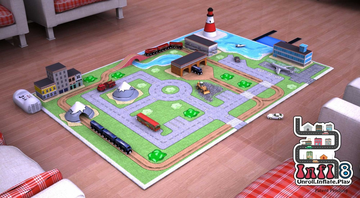 Digital Prototype Rendering Infl-8 Train Play Mat