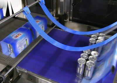 Emballage de canettes sous film imprimé en double piste