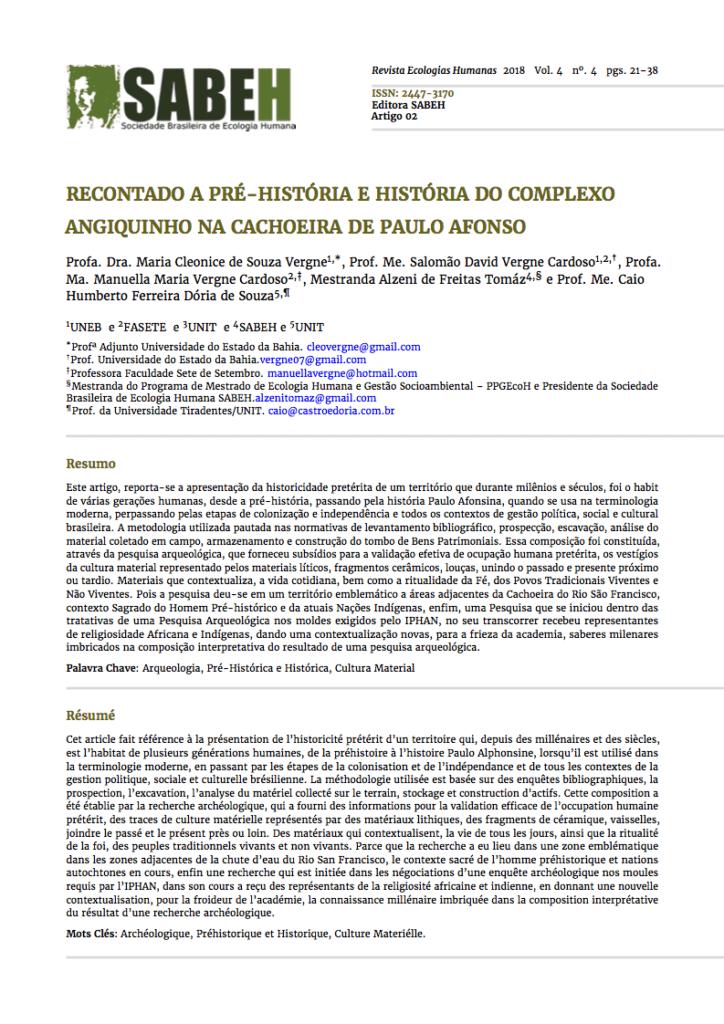 Capa de Livro: RECONTADO A PRÉ-HISTÓRIA E HISTÓRIA DO COMPLEXO ANGIQUINHO NA CACHOEIRA DE PAULO AFONSO