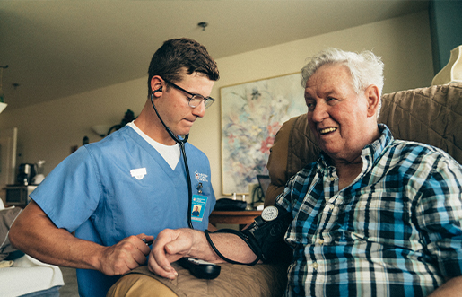Patient receiving in-home healthcare