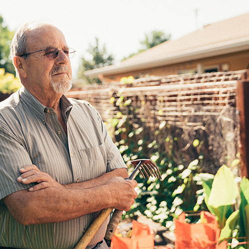 Larry Block in his garden