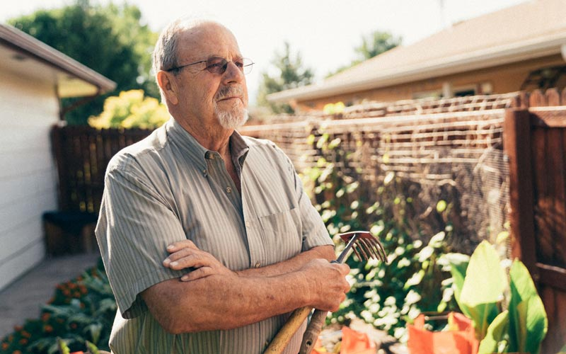 Larry Key in a garden