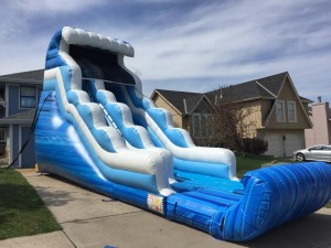 actual unit setup at house, fury water slide rental 20 foot tall