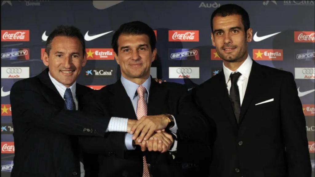 Pep Guardiola entrando al Barcelona