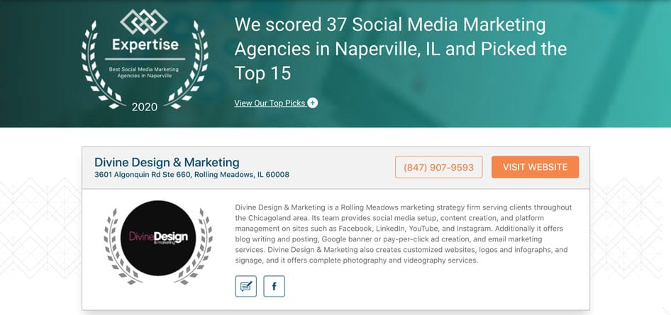 Expertise Top 15 Social Media Marketing Agencies with Divine Design Marketing