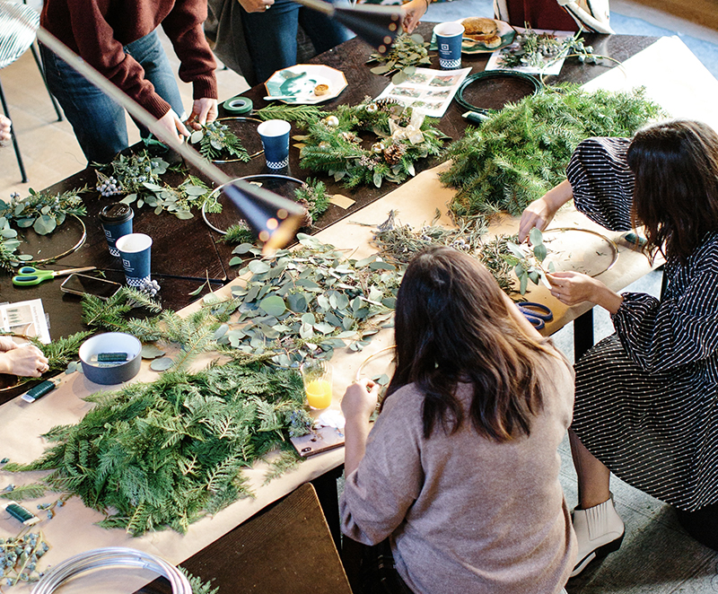 People making crafts at a table
