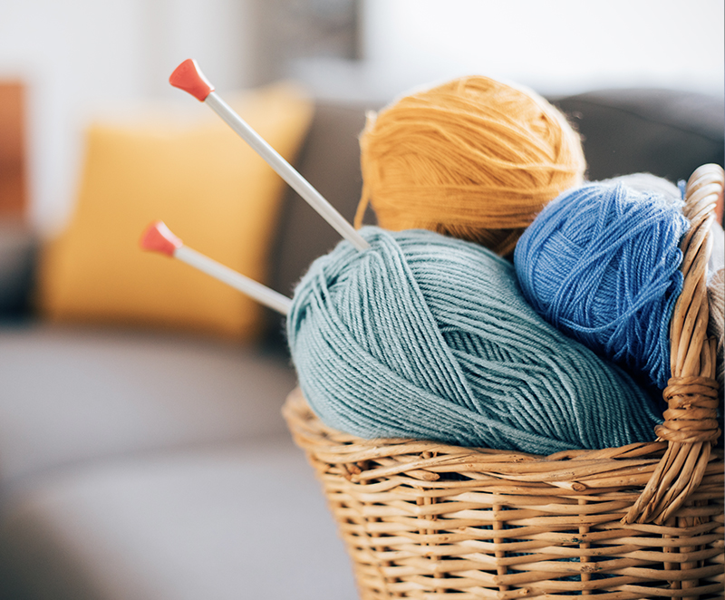 Knitting supplies in a basket