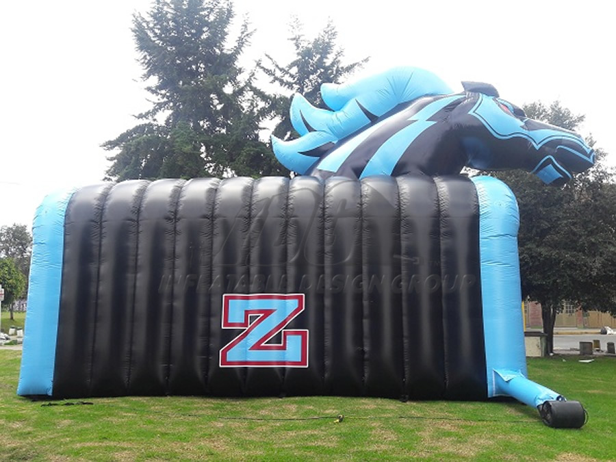 Inflatable Blue Mustang Tunnel Side View