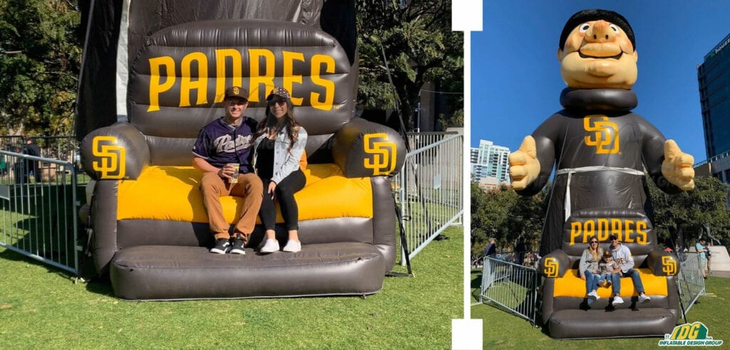 San Diego Padres Inflatable Couch and Mascot