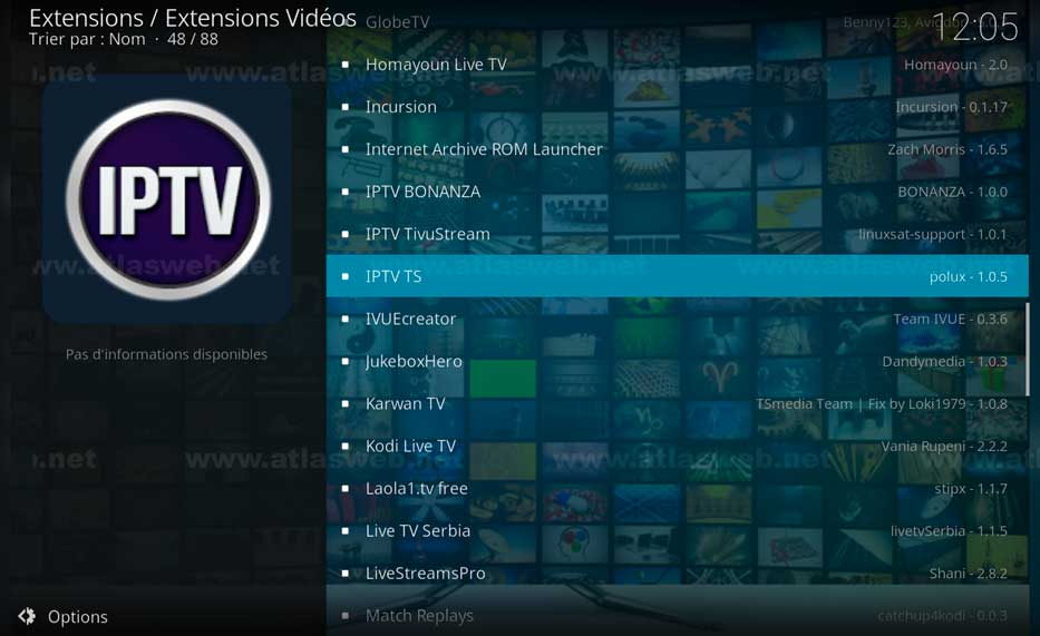 Installer l'extension IPTV Ts sur kodi