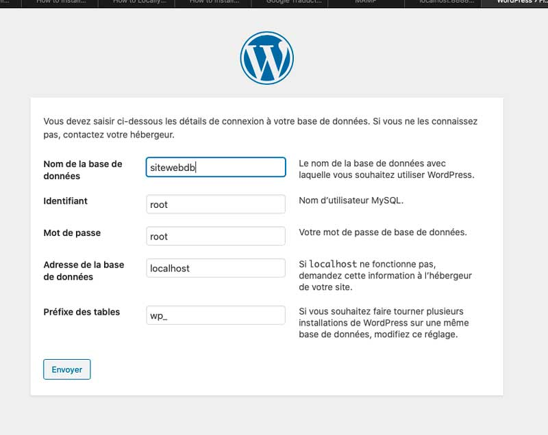 wordpress mac configuration