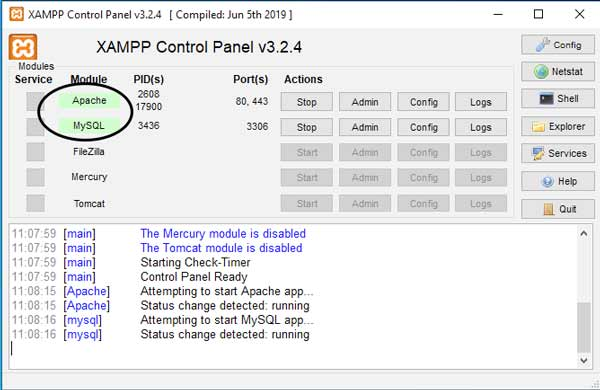 xampp apache star green
