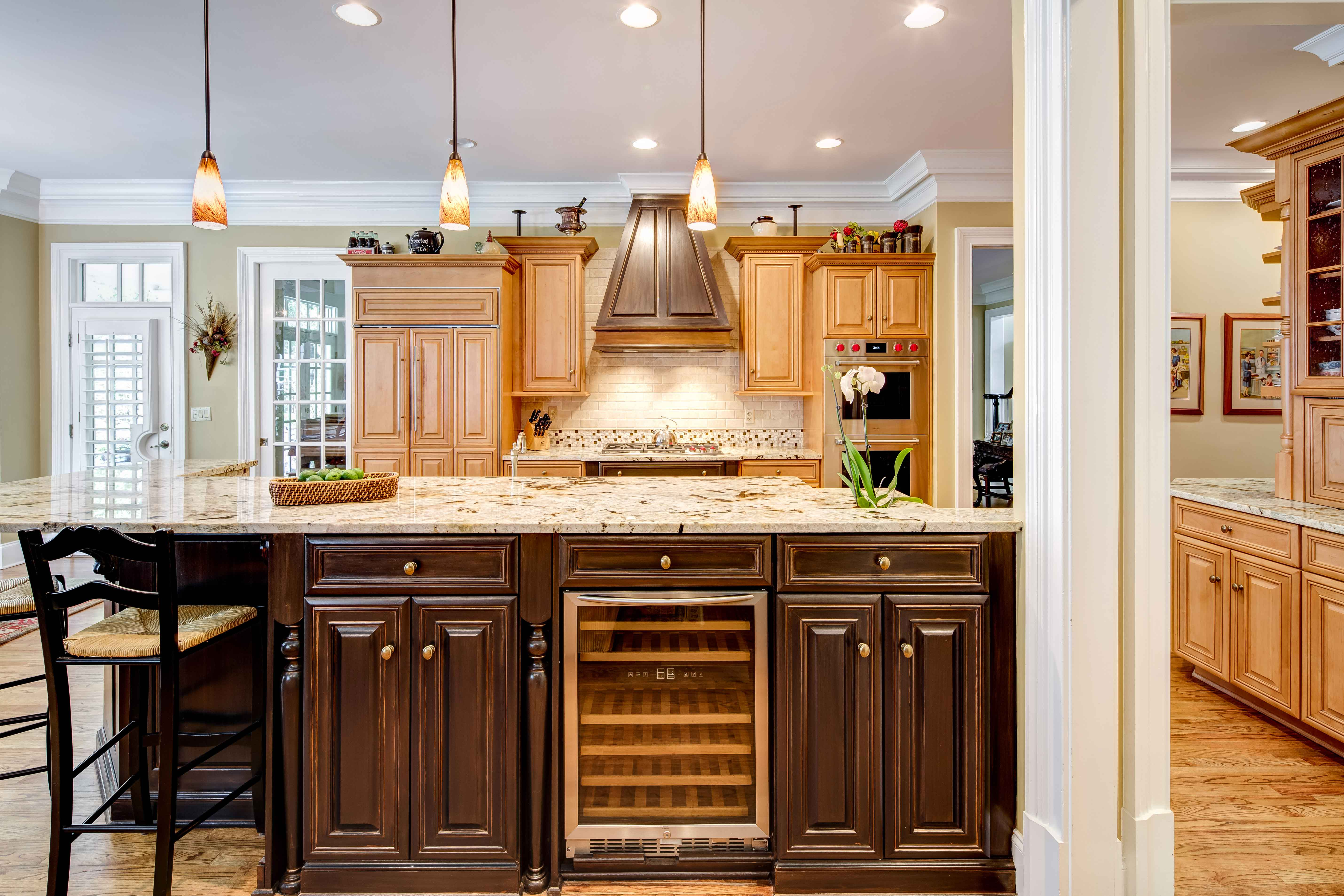 Brown Kitchen Cabinetry and Hood