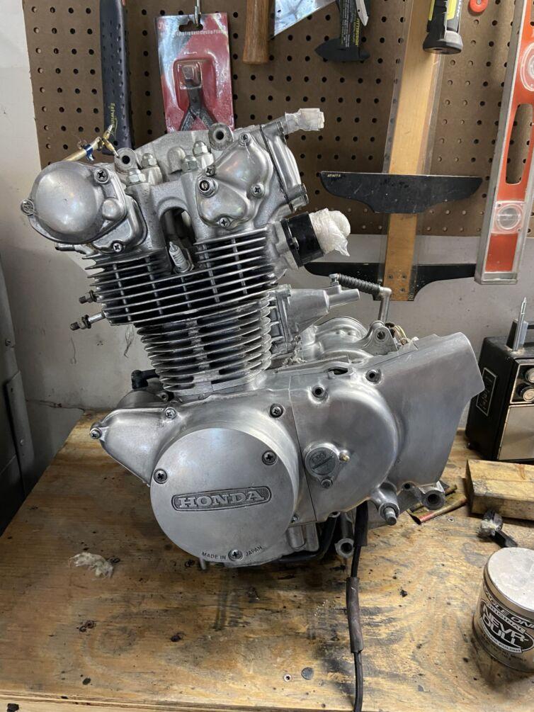 CB450 engine before polish