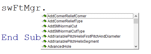 Autocomplete for FeatureManager interface