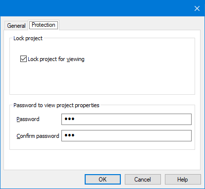 Protect Macro - Project properties window