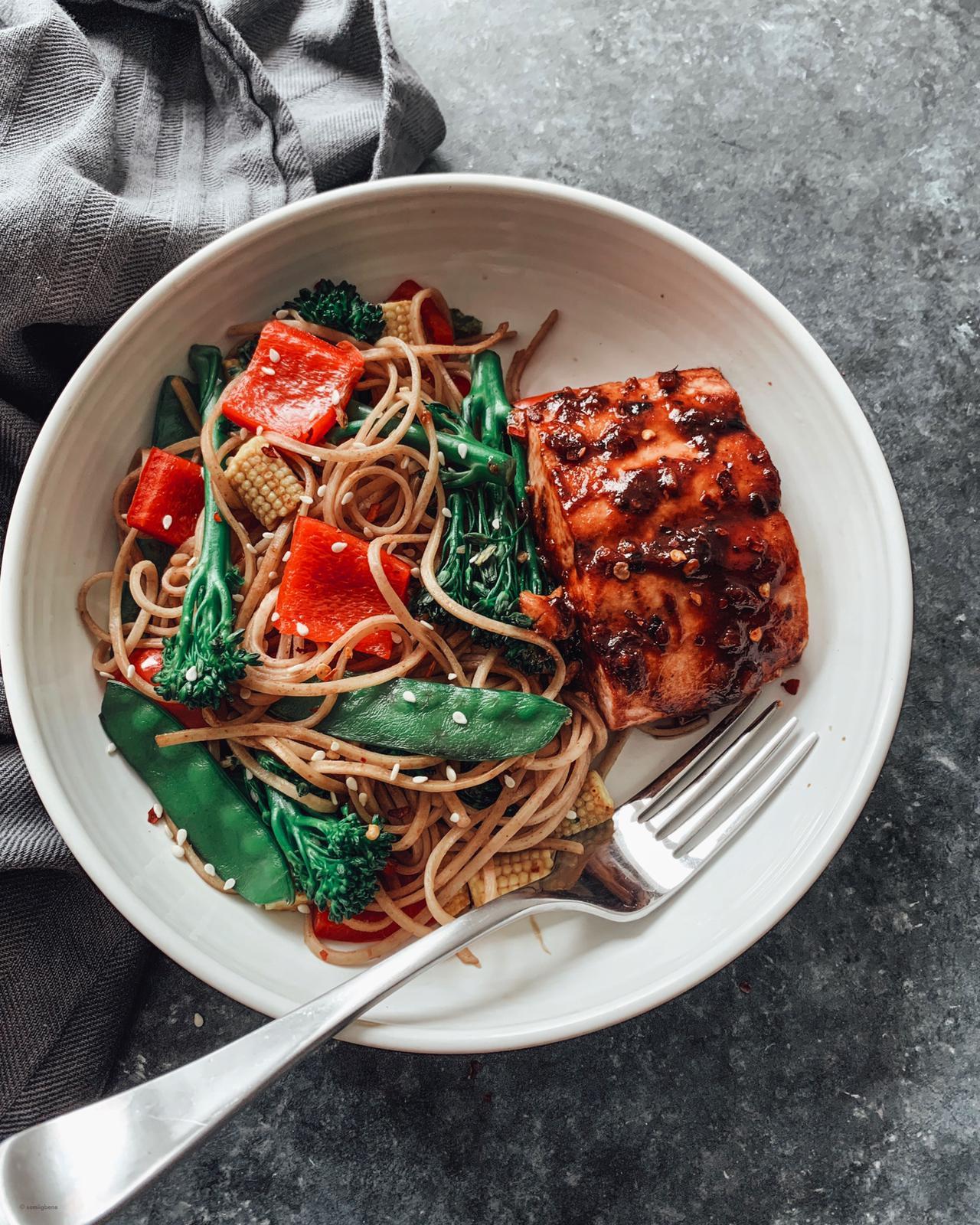 Chilli Bean Wild Salmon with Veggie Noodle Stir-Fry