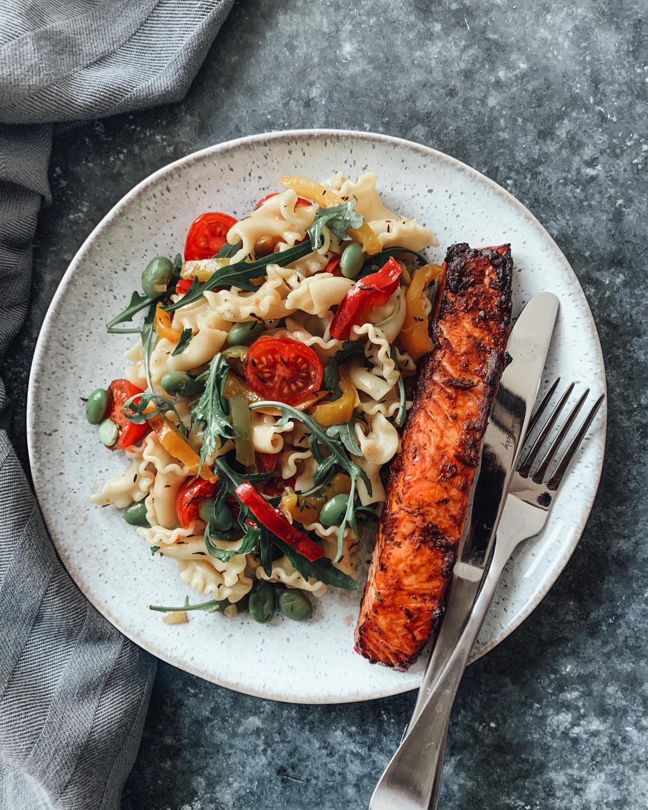 Pasta Salad with Baked Tinga Salmon