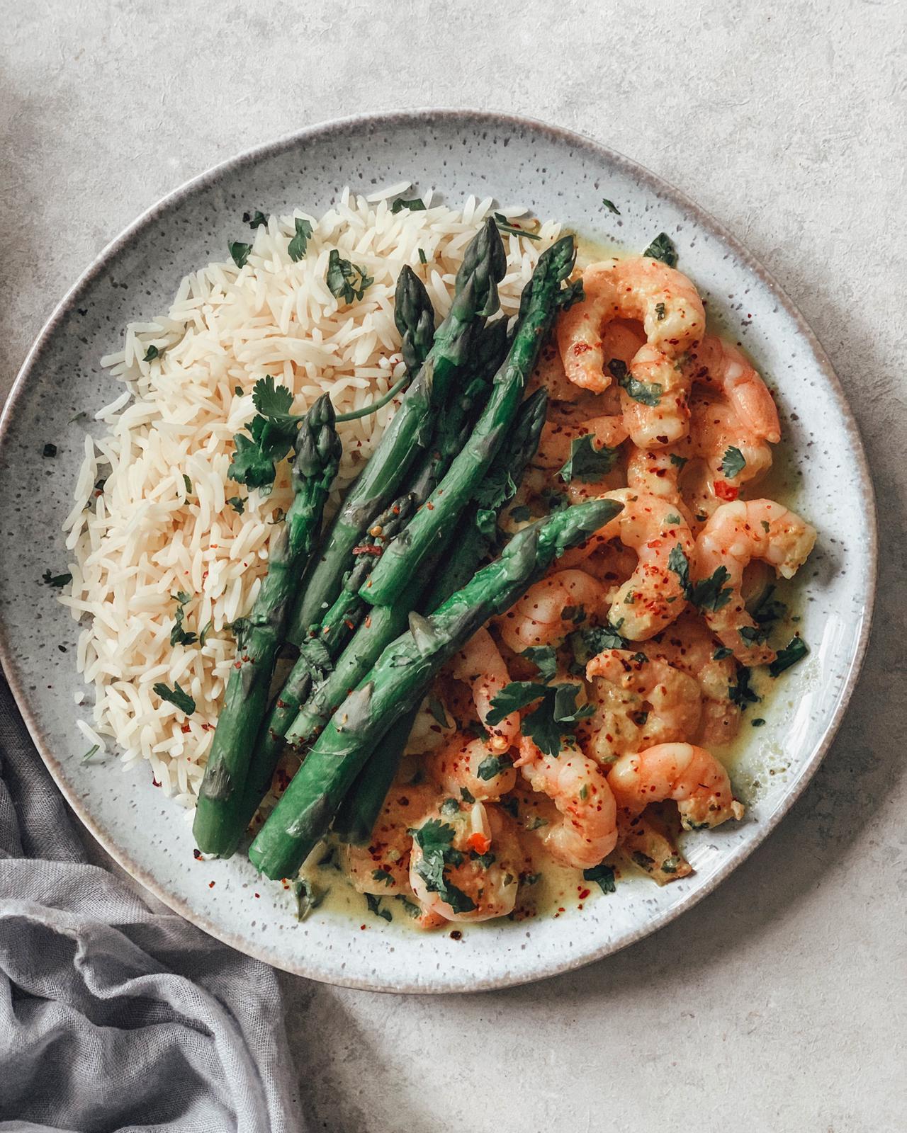 Prawn Laska Curry with Steamed Rice & Asparagus.