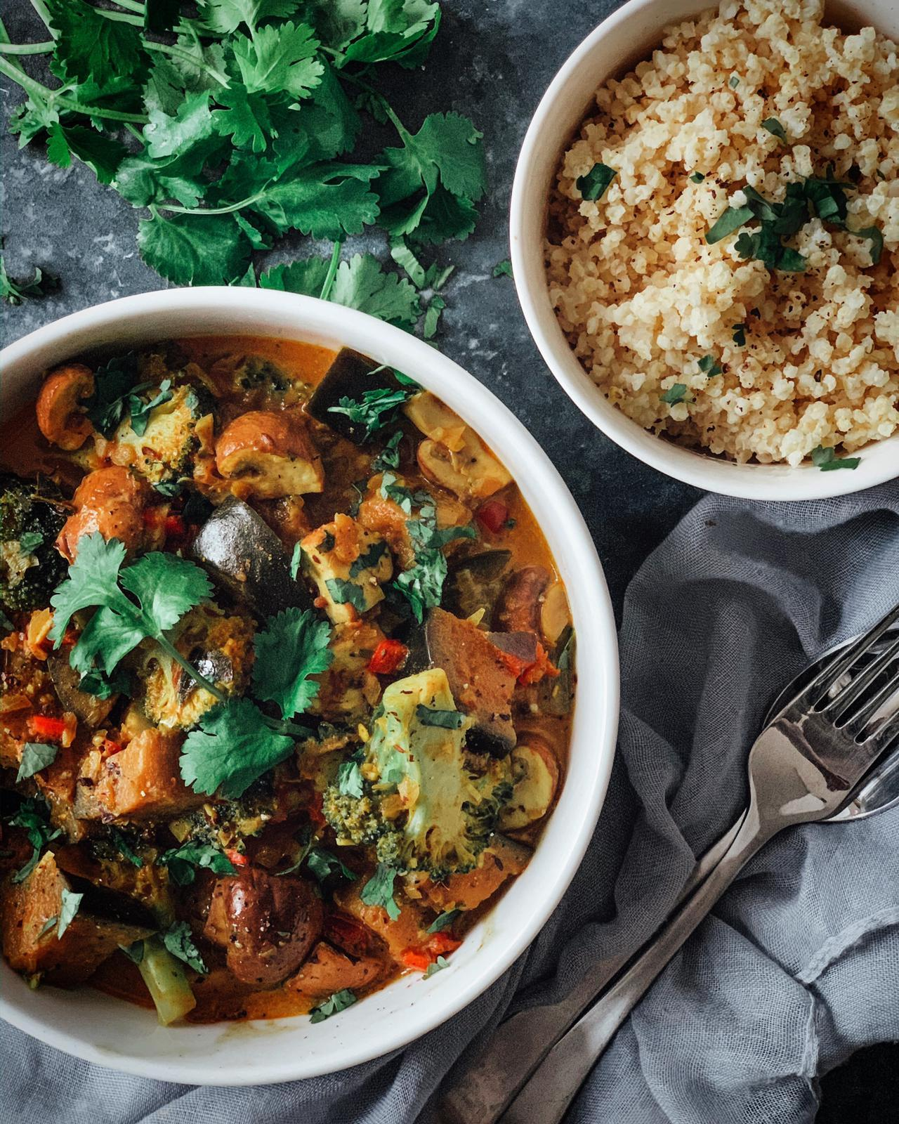 Aubergine, Mushroom & Broccoli Curry with Millet