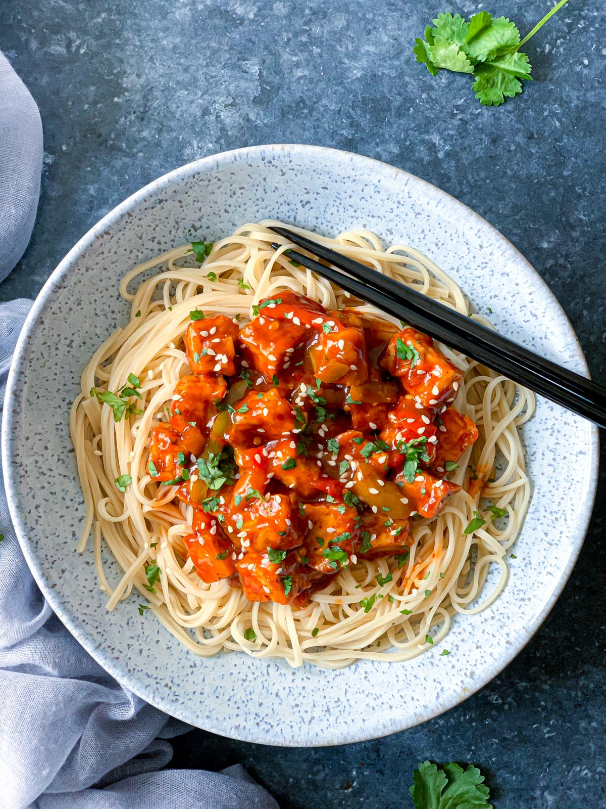Chinese Five-Spice Tofu with Noodles