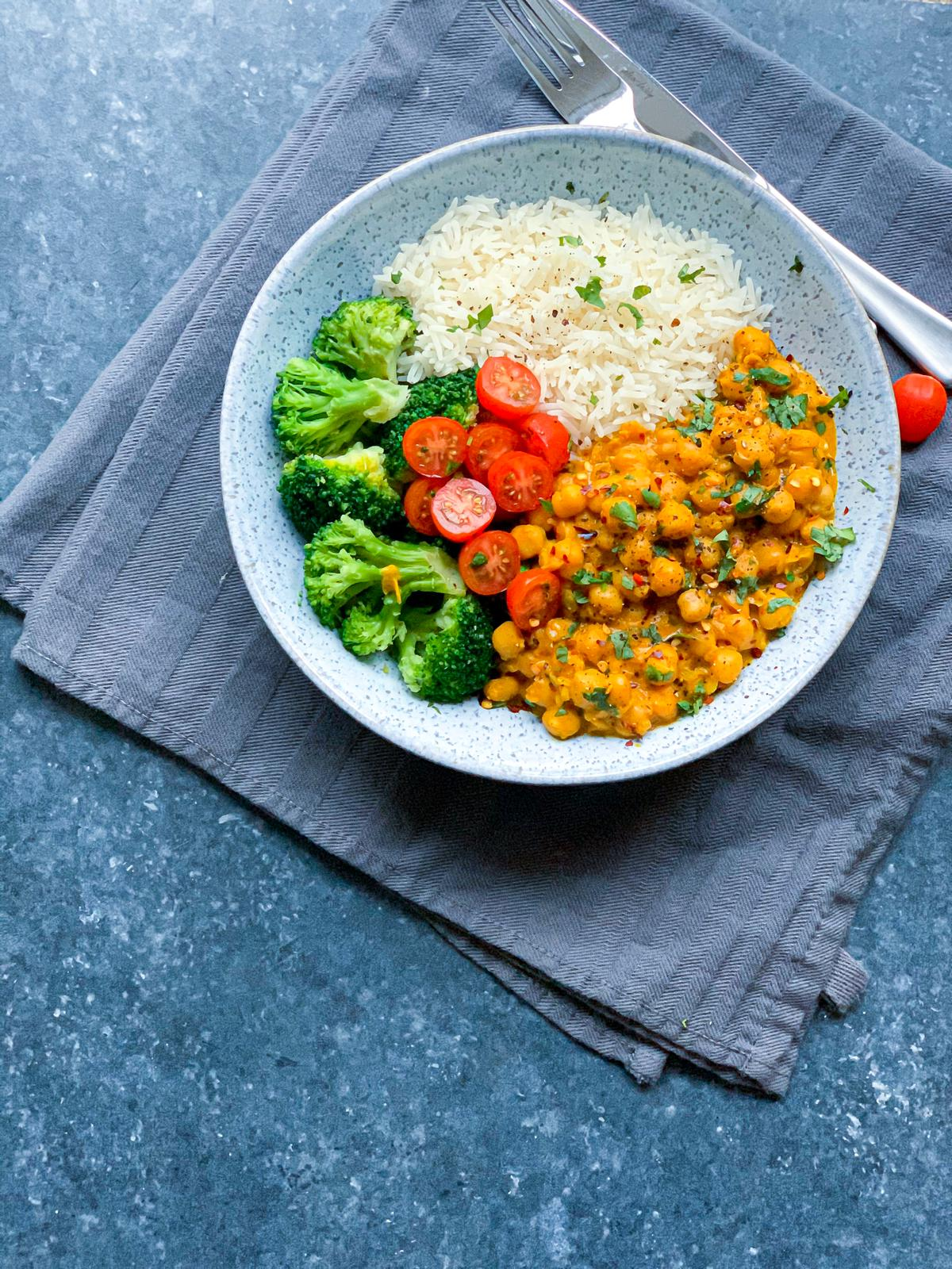 Coconut Chickpea Curry with Basmati Rice & Veggies