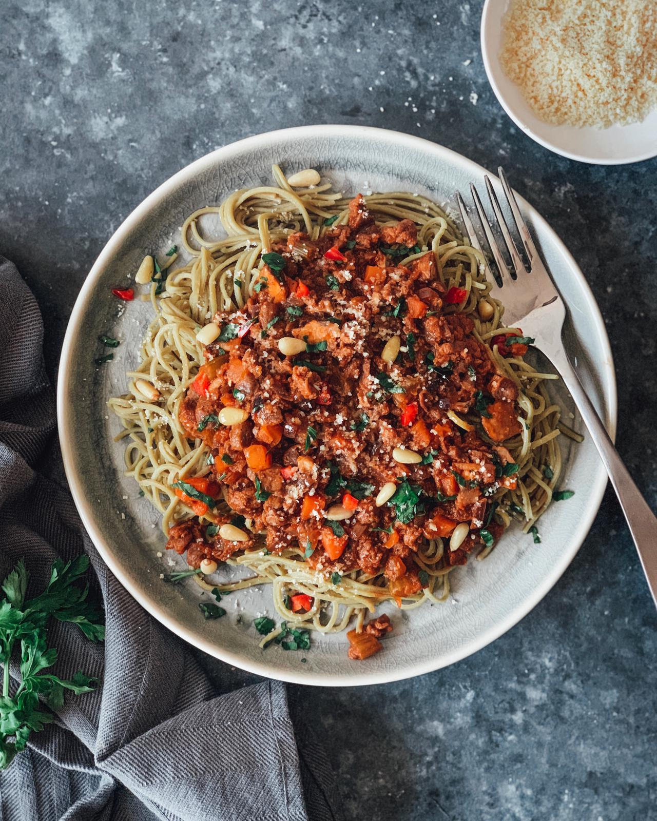 Explore Cuisine's Edamame Spaghetti with Soya & Mushroom Ragu
