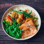 Curried Plantain, Wild Salmon & Cauliflower Rice