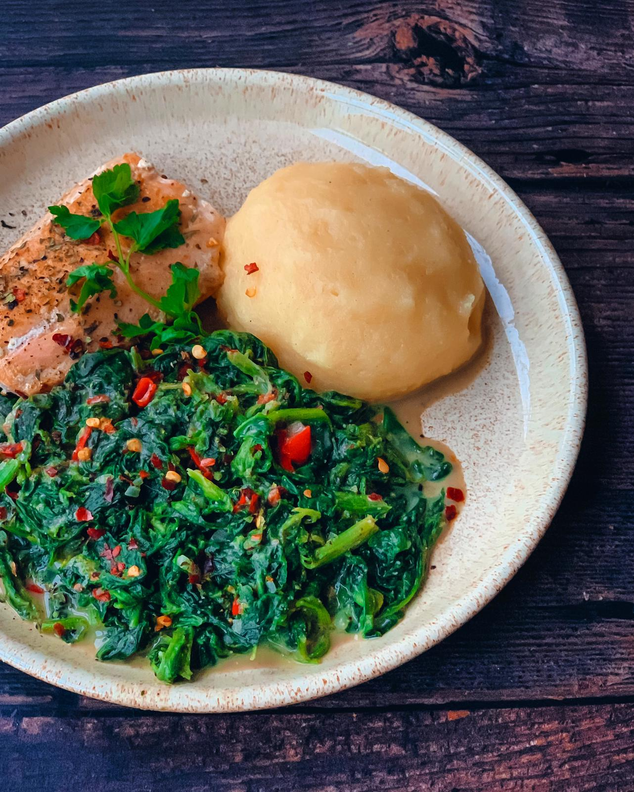 Groundnut, spinach, cornmeal